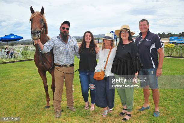 Blonde Russian and strapper Whitey with owners Felicity Taylor Melissa Curran Billee Sanders and Simon Mitchell after winning the Harvey Norman...