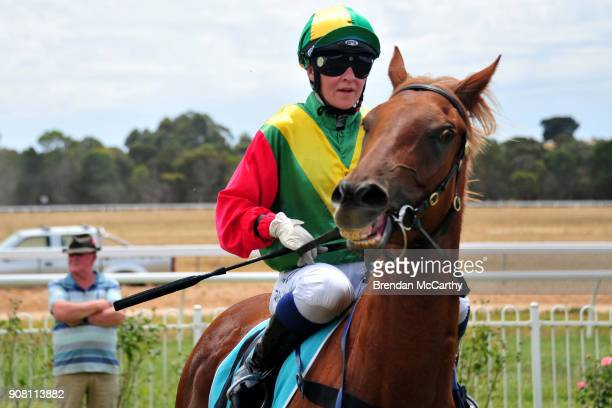 Blonde Russian ridden by Tahlia Hope returns to the mounting yard after winning the Harvey Norman Ararat Maiden Plate at Ararat Racecourse on January...