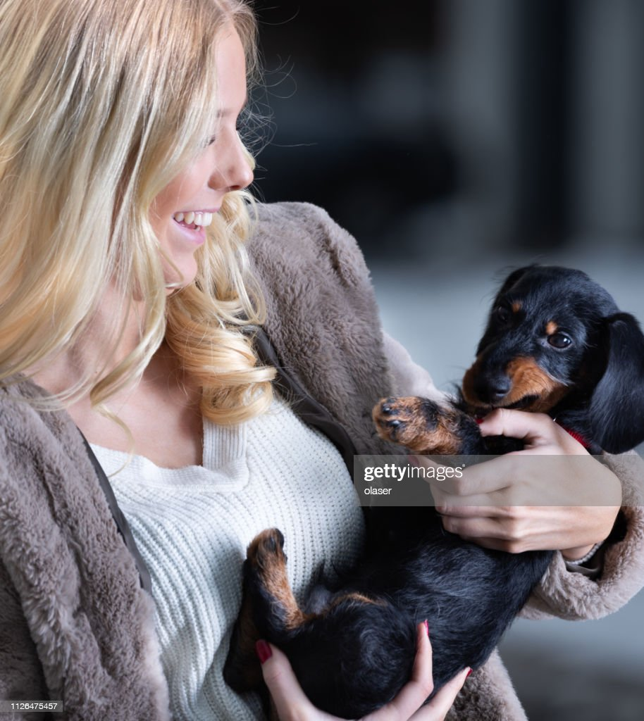 Blonde Smiling Young Woman And Her Dachshund Puppy High Res Stock Photo Getty Images
