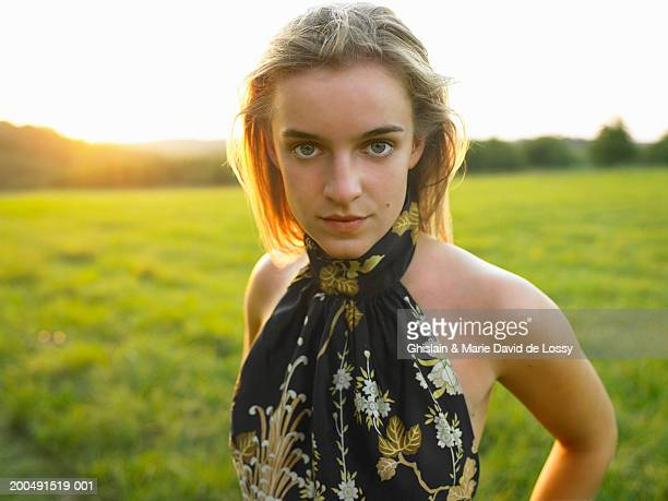 blonde teenage girl (16-18), close-up, portrait - saint ferme stock photos and pictures