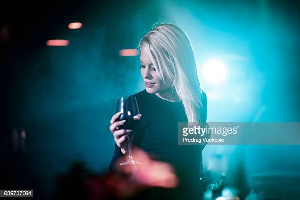 Blonde woman in the bar