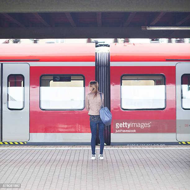 Blonde woman on platform