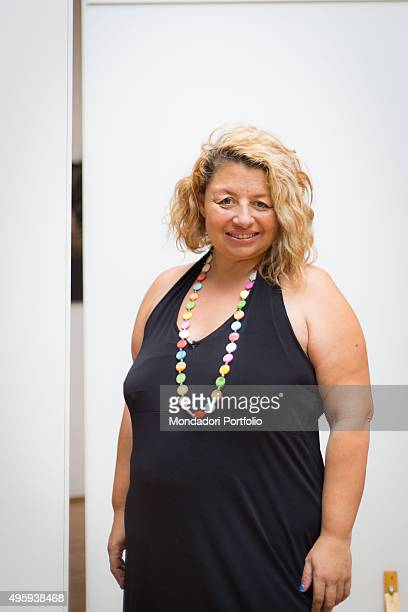 A blonde woman smiling Milan Italy 26th July 2014