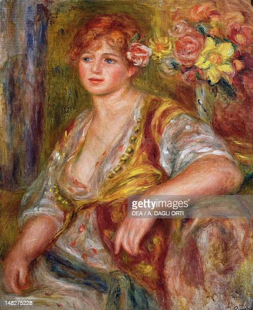 Blonde woman with a rose 19151917 by PierreAuguste Renoir oil on canvas 64x54 cm Paris Musée National De L'Orangerie