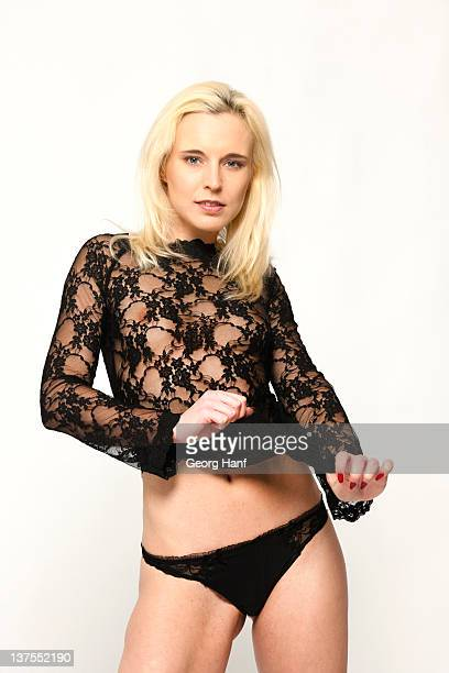 blonde woman with beautiful lingerie - calcinha transparente imagens e fotografias de stock