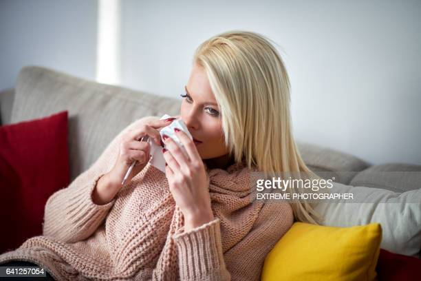 Blonde woman with flu
