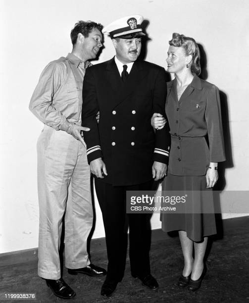 Blondie a CBS Radio situation comedy program Left to right Arthur Lake Lt William Moore and Penny Singleton Hollywood CA July 1 1943