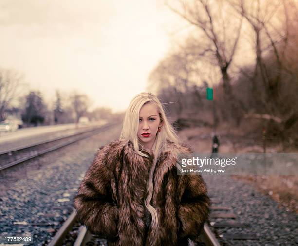 Blondie on the train tracks
