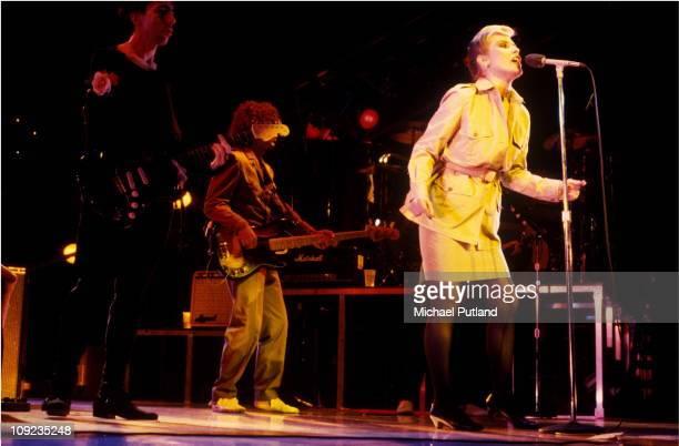 Blondie perform on stage Toronto Canada 18th August 1982 LR Chris Stein Neil Harrison Debbie Harry