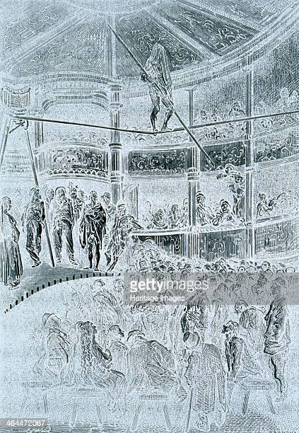 'Blondin at Shoreditch', 1872. Blondin, a famous French acrobat, walks on the tightrope with his head covered with a cloth to an amazed audience....