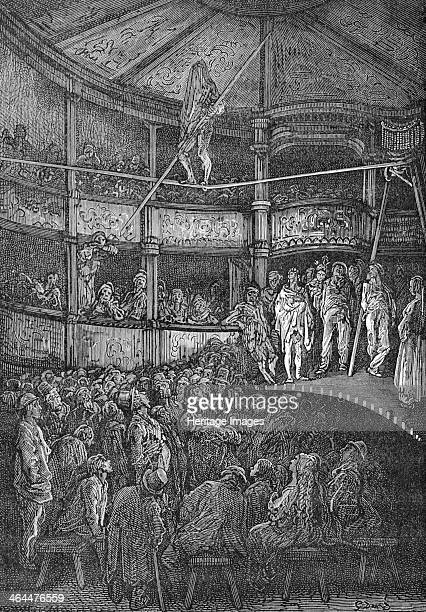 'Blondin at Shoreditch' 1872 Blondin a famous French acrobat walks on the tightrope with his head covered with a cloth to an amazed audience Taken...