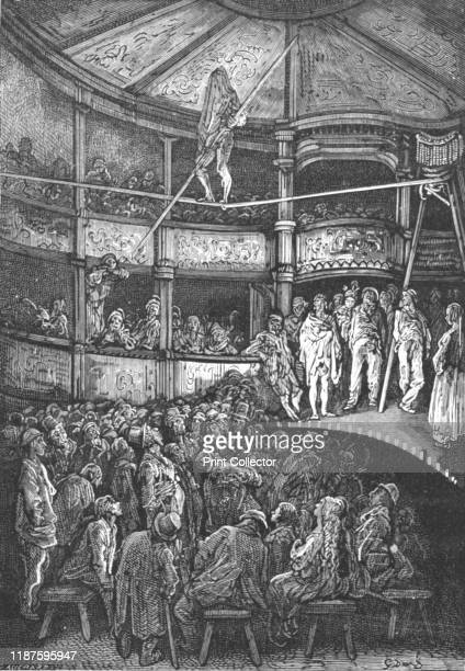 Blondin at Shoreditch' 1872 Charles Blondin French acrobat walks the tightrope in Shoreditch From LONDON A Pilgrimage by Gustave Dore and Blanchard...