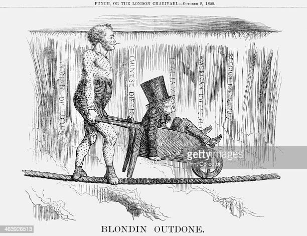 'Blondin Outdone' 1859 Palmerston dressed in contemporary circus costume wheeling a nervous looking Lord John Russell across a tightrope with Niagara...