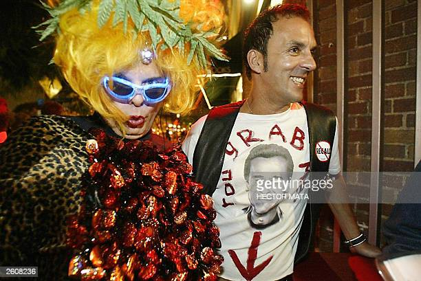Blondy Babe an infamous underground drag queen and Pop Artist Tom de Mille queue to meet Gubernatorial candidate Angelyne the 'Hollywood Billboard...