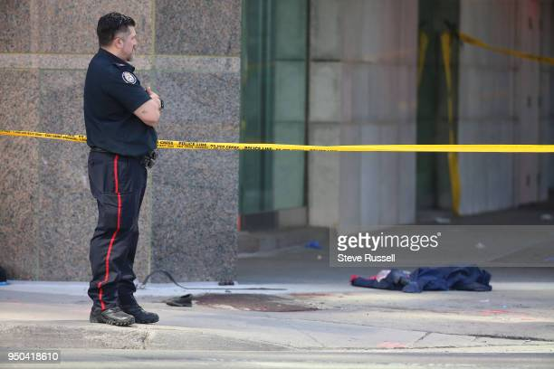TORONTO ON APRIL 23 Blood and clothing are on the Westside sidewalk at Park Home Avenue Police have Yonge Street blocked off at Parkview Avenue where...