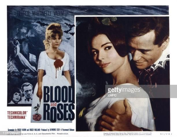 Blood And Roses lobbycard from left Elsa Martinelli Mel Ferrer 1960