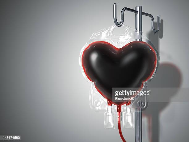 Blood Bag Heart. Donate Concept