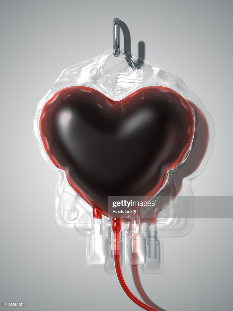 Blood Bag Heart. Donate Concept : Stock Photo