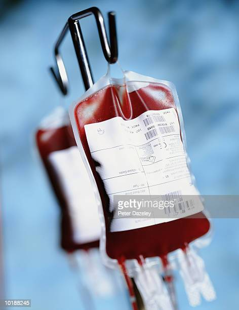 Blood Bags against blue background