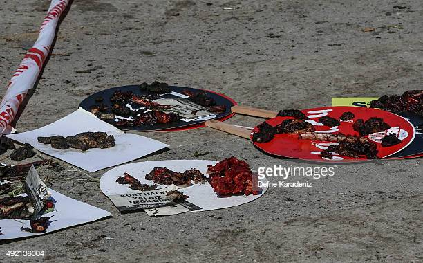 Blood covered banners are seen are seen at the blast scene after an explosion during a peace march in Ankara October 10 2015 Turkey At least 86...