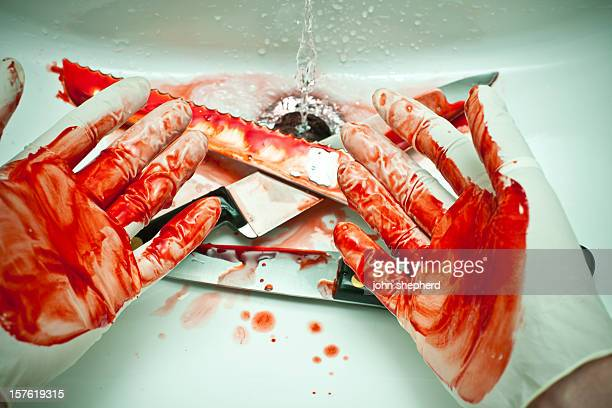 blood covered hands - blood in sink stock pictures, royalty-free photos & images