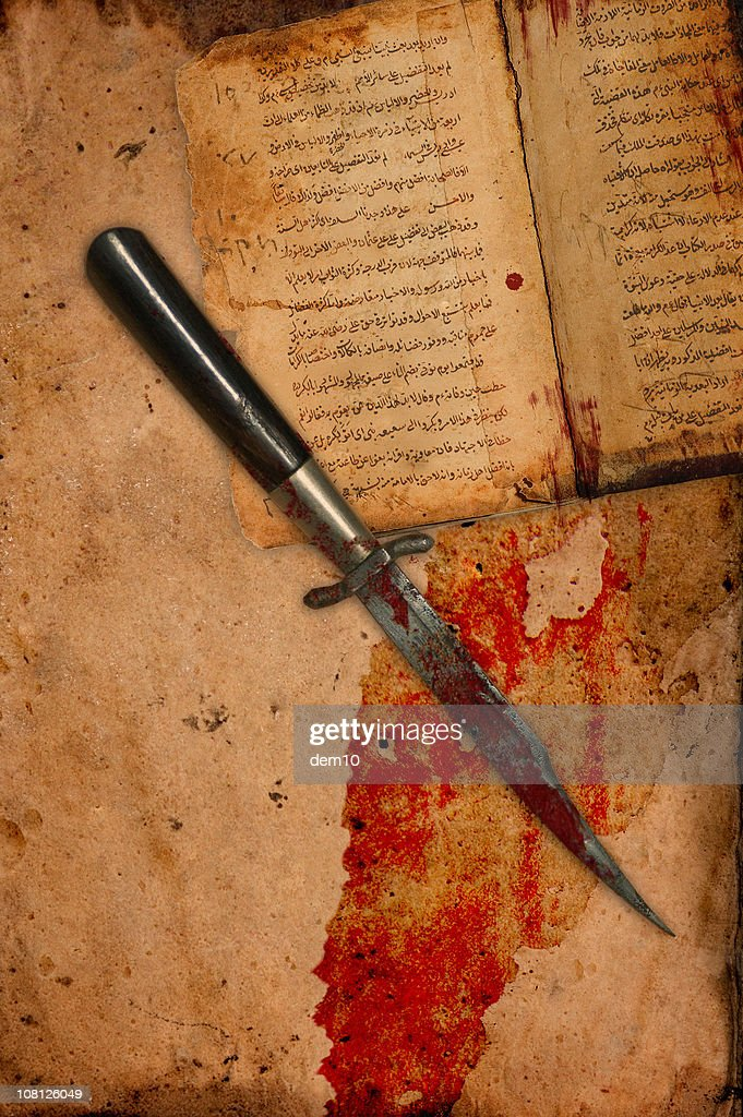 Book Covered In Blood ~ Blood covered knife on ancient antique paper and book