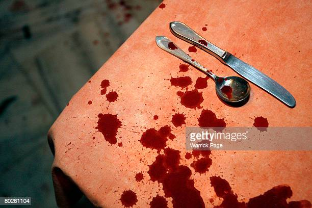 Blood covers cutlery on a table at Luna Caprese restaurant after an explosion was set off amidst diners on March 15 in Islamabad Pakistan One person...
