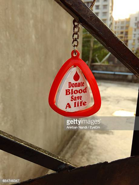 Blood Donation Sign On Key Ring Pendant