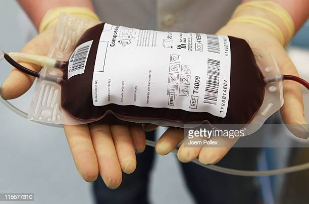 Blood donations are seen at the blood donation service Hamburg on June 8 2011 in Harburg Germany Hospitals and the Red Cross in northern Germany have...