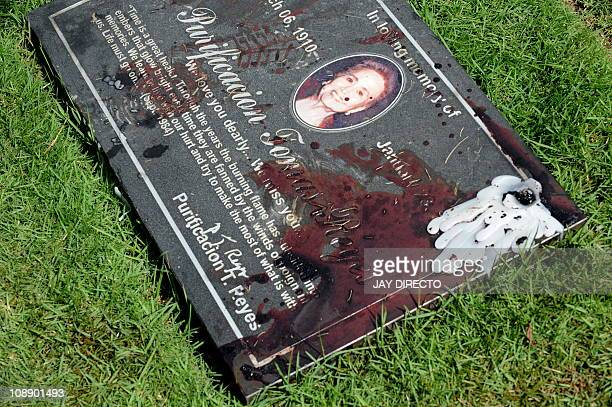 Blood from the gunshot wound sustained by former defence secretary and military chief Angelo Reyes stains the marker on the gravestone of his mother...