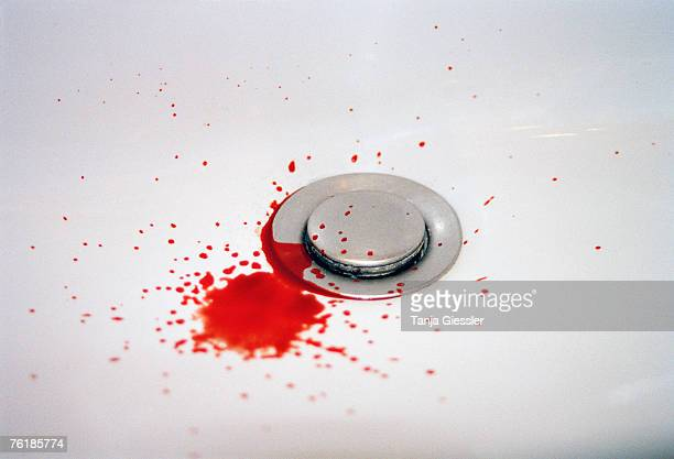 blood in a bathroom sink - blood in sink stock pictures, royalty-free photos & images