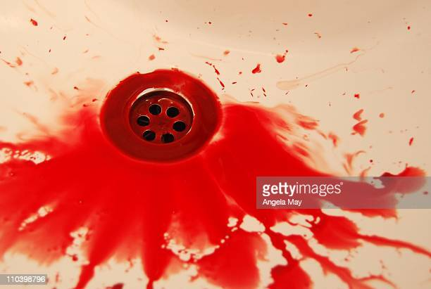 blood in sink after a nosebleed - blood in sink stock pictures, royalty-free photos & images