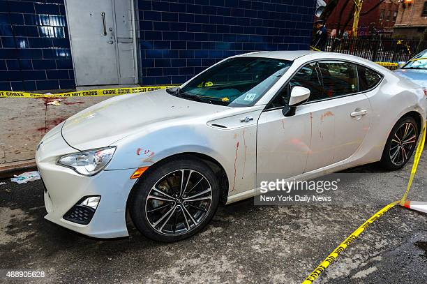 Blood is on a car near the 1 OAK Club early Wednesday morning on April 8 in New York Former New York Knick Chris Copeland now playing for the Indiana...