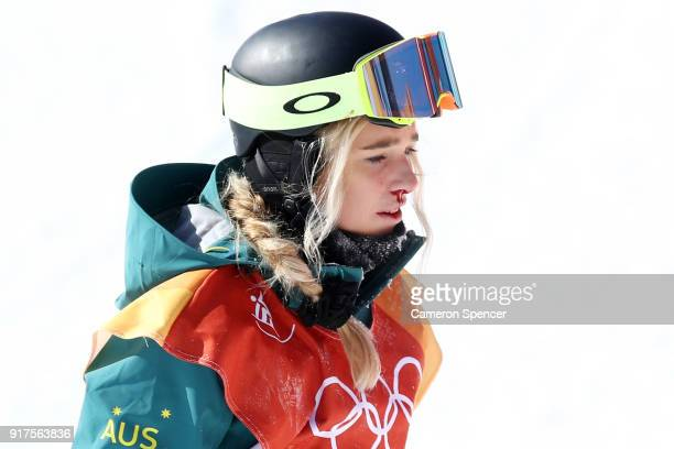 Blood is seen from the nose and mouth of Emily Arthur of Australia after crashing during the Snowboard Ladies' Halfpipe Final on day four of the...