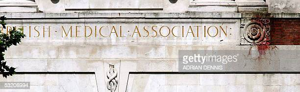 Blood is splattered 10 metres high on the wall of the British Medical Association near to where a suspected terrorist bomb was exploded on a bus in...