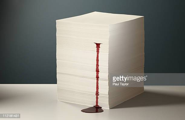 Blood Leaking from Paper Stack