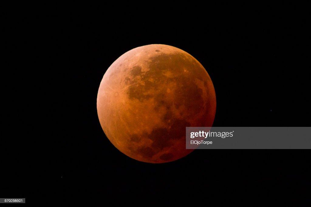 Blood moon, full lunar eclipse, Uruguay, 2014 : Stock Photo