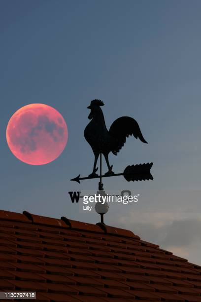Blood moon over the roof of a house with weather vane with weather cock, Baden-Wuerttemberg, Germany