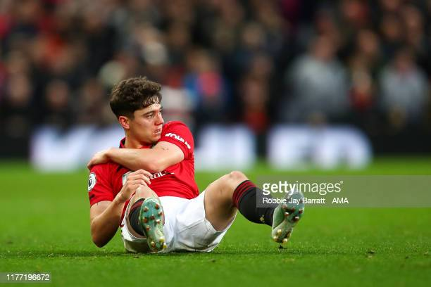 Blood on the face of Daniel James of Manchester United during the Premier League match between Manchester United and Liverpool FC at Old Trafford on...
