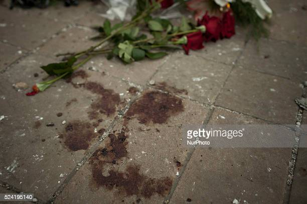 Blood on the ground by the occupied Regional Administration building in Lugansk eastern Ukraine on June 3 2014 The previous day as fighting between...