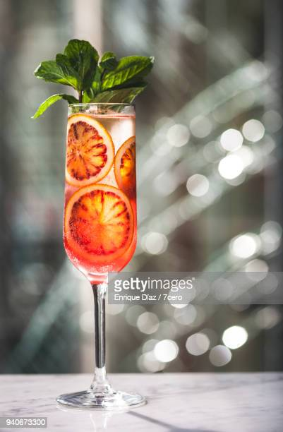 Blood Orange Cava Cocktail with Mint and Broken Glass