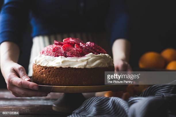 Blood orange & corn flour ricotta cake