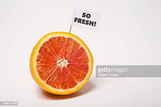blood orange, flag saying so fresh! - captions stock photos and pictures