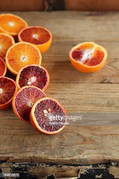 Blood oranges halved