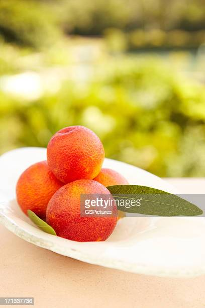 Blood oranges on a white plate outdoors