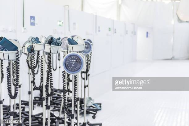 Blood pressure meters in the LagoaBarra field hospital on April 25 2020 in Rio de Janeiro Brazil The hospital has 7 thousand square meters with a...