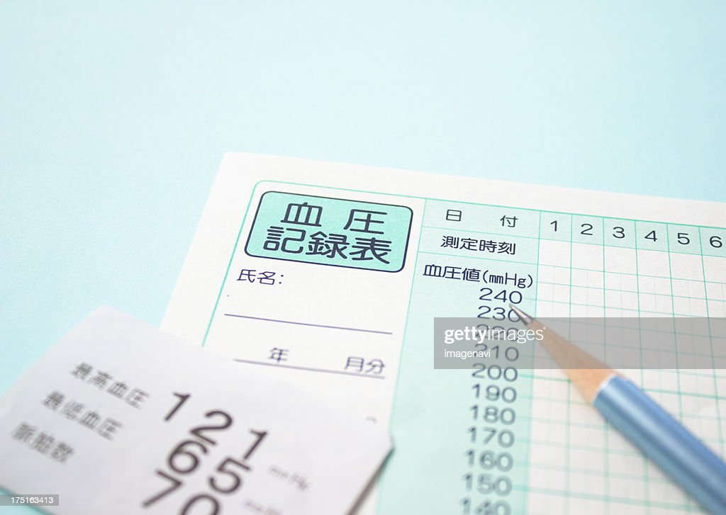Blood Pressure Record Sheet And A Pencil Stock Photo Getty Images