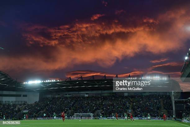 Blood red sky overhead during the FIFA 2018 World Cup Qualifier between Northern Ireland and Czech Republic at Windsor Park on September 4, 2017 in...