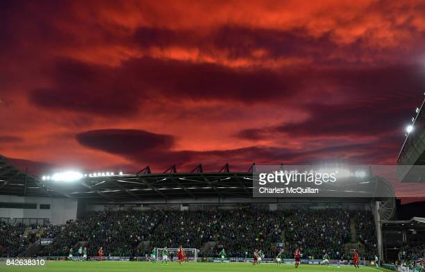 A blood red sky overhead during the FIFA 2018 World Cup Qualifier between Northern Ireland and Czech Republic at Windsor Park on September 4 2017 in...