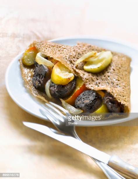 Blood sausage,apple and onion Galette